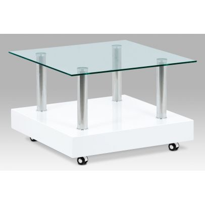 konferenčný stolík 70×70×45, biely vysoký lesk / sklo čiré AF-2033 WT