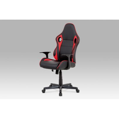 office chair black PU 002+ red fabric 58 KA-E807 RED