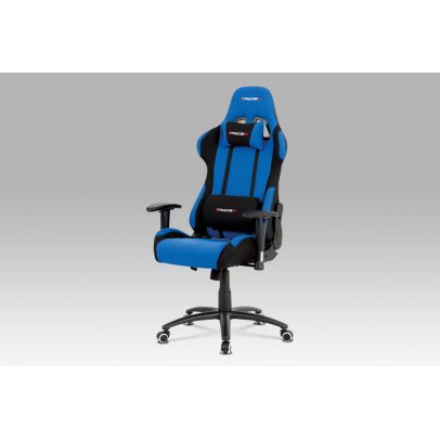 Office chair, blue fabric with black details, steel base KA-F01 BLUE